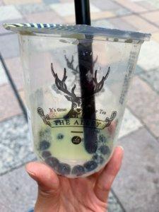 ジアレイ福岡天神の抹茶黒糖ラテを飲み干した画像